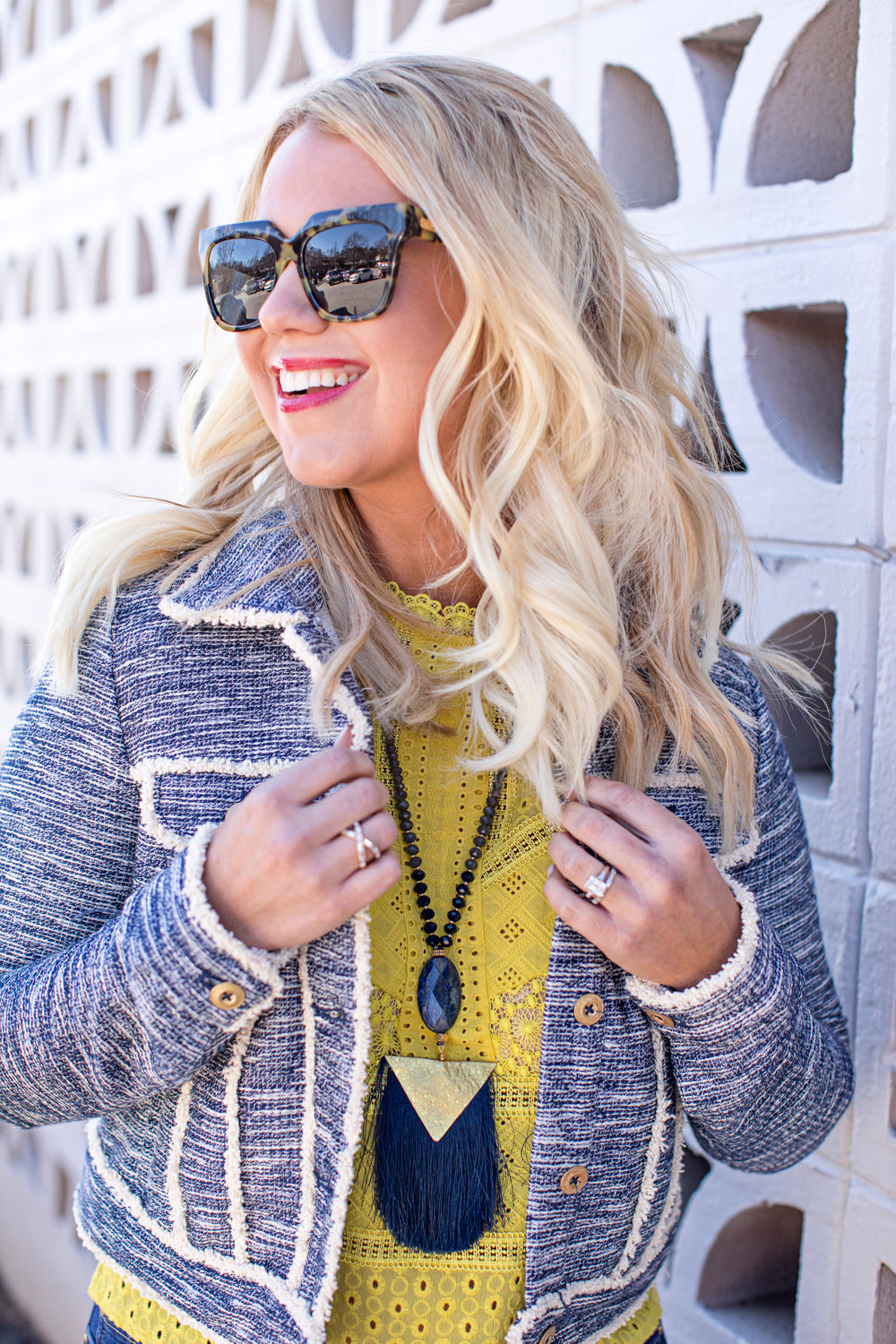 This jacket and top are both on the sale. {See links below.} Stay tuned for this outfit coming to the blog tomorrow.