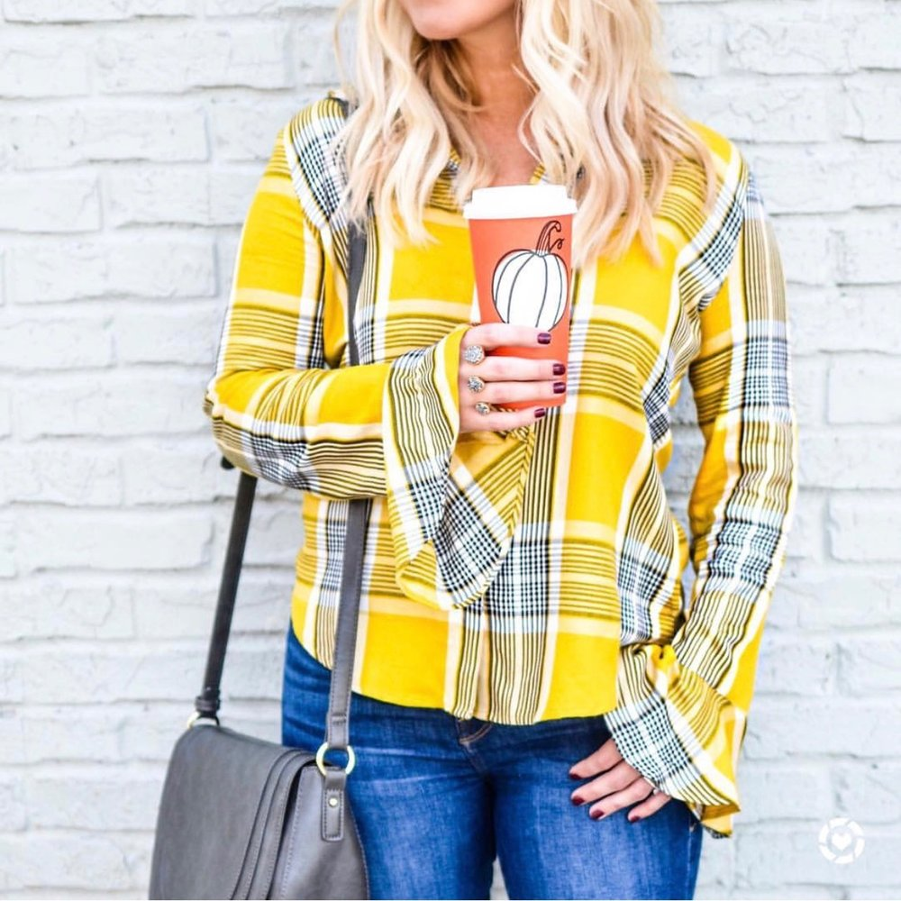 This flare-sleeved plaid top  comes in four colors and is now 52% off!