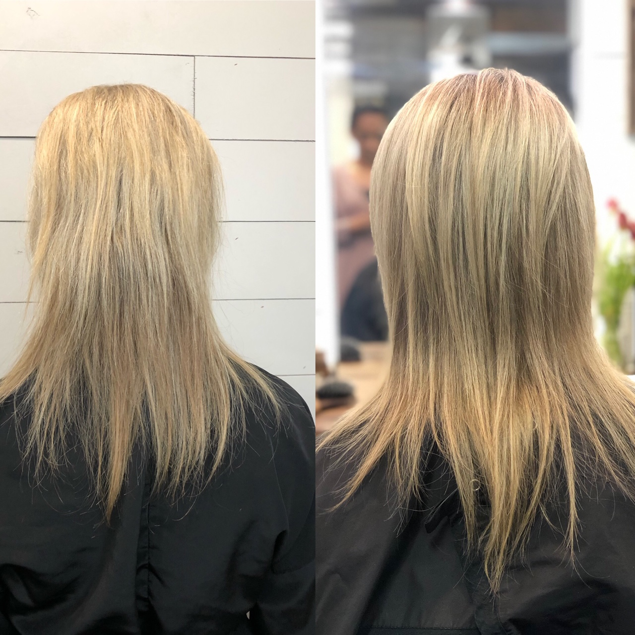 The pic on the left is my hair when I first saw Luz. Hair is broken and damaged from years of tape-ins. Pic on the right is four months into wearing NBR. You can see my hair is growing thicker and longer, with less breakage!