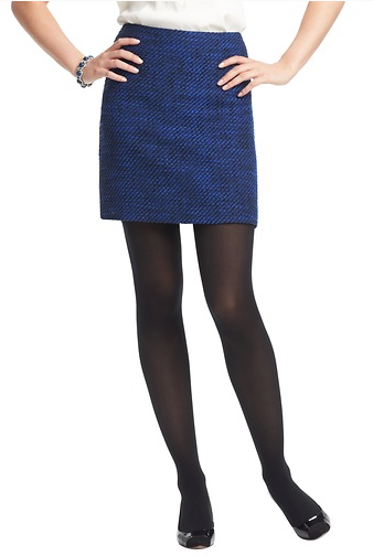 LOFT Blue Tweed Shift Skirt.