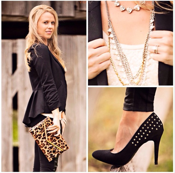 with sparkles, leather pants and heels.