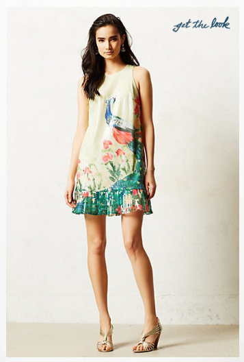Anthropologie Shimmered Plume Dress.