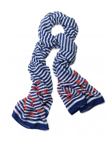 Stella & Dot Navy Stripe & Elephant Scarf.