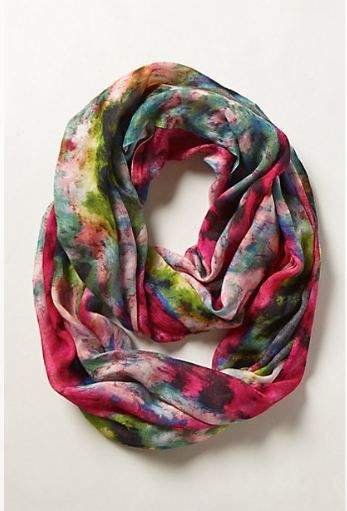Anthropologie Blushing Floral Infinity Scarf.