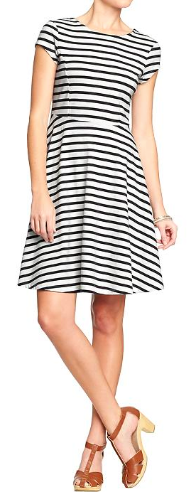 Old Navy Fit & Flare Jersey Dress. {I just purchased this dress and it is super cute on, with a high-waisted belt added!}