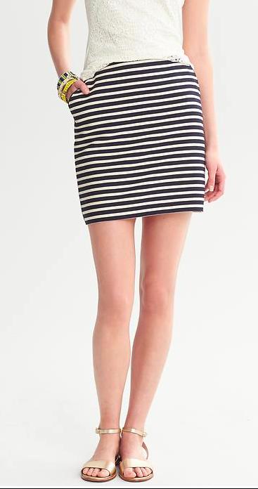 Banana Republic Piped Navy Striped Mini Skirt.