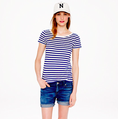 Vintage Cotton Stripe Scoop Tee.