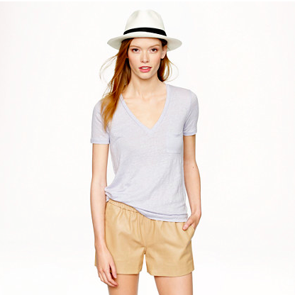 J.Crew Linen V-Neck Pocket Tee.