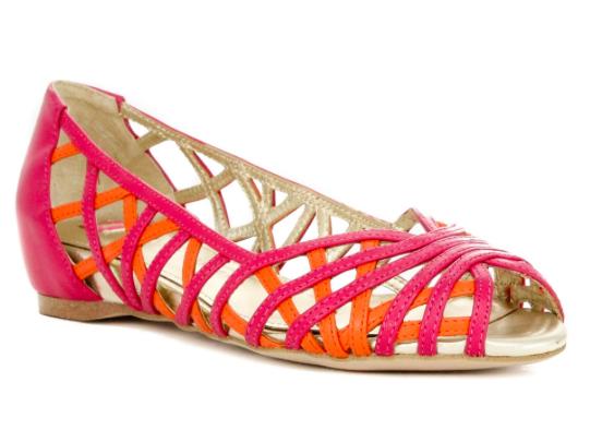 Elaine Turner Pippa Hibiscus and Tangerine Leather Peep-toe Flat.