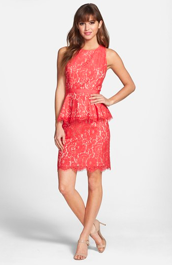 Eliza J Lace Peplum Sheath Dress via Nordstrom.