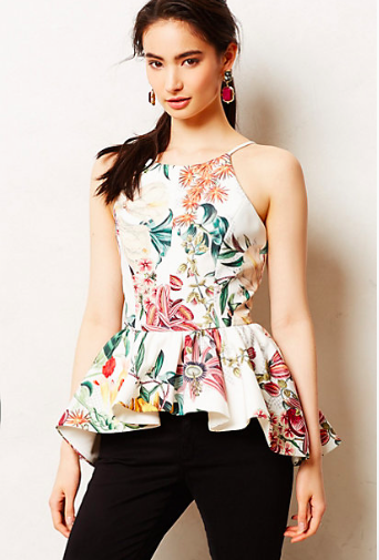 Anthropologie Dahlia Peplum Top.