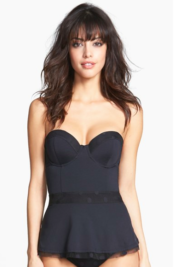 Betsey Johnson Unwire Peplum Tankini Swim Top.