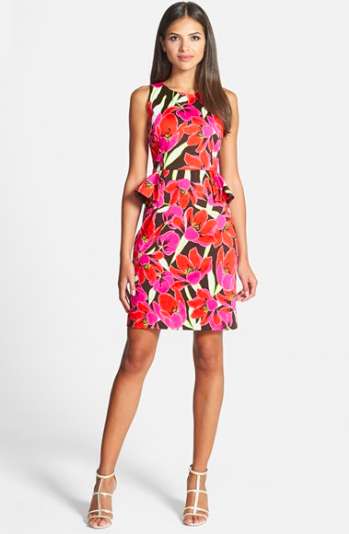 Kate Spade Tropical Print Peplum Sheath Dress.