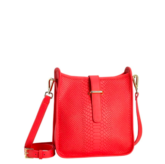 Elle Cross-Body in Embossed Salmon.