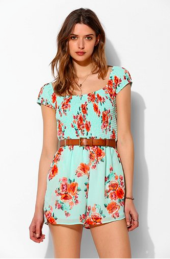 Pins and Needles Smocked Off-the-Shoulder Romper via Urban Outfitters.