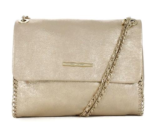 Nala Champagne Leather Handbag.