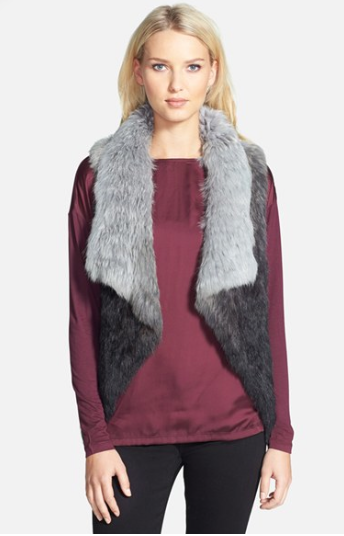 Love Token Assemetrical Rabbit Fur Vest, $249.90. {normally $398}