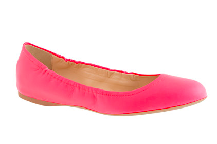 J.Crew Ballet Flats in neon flamingo. {currently on a major sale!!}