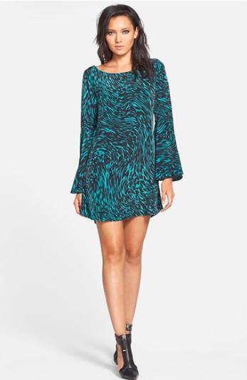 Tildon Bell Sleeve Minidress. {same dress I am wearing, but different print.}
