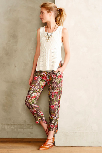 Anthropologie Rose Garden Joggers.