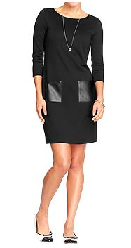 Old Navy Faux-Leather Pocket Shift Dress.