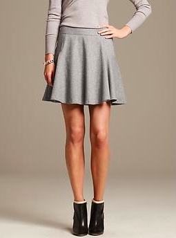 Banana Republic Gray Flannel Fit-and-Flare Skirt.