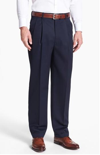 Double Pleated Full Break Trousers :: Nordstrom