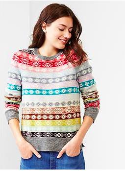 Gap Fair Isle Striped Wool Sweater.