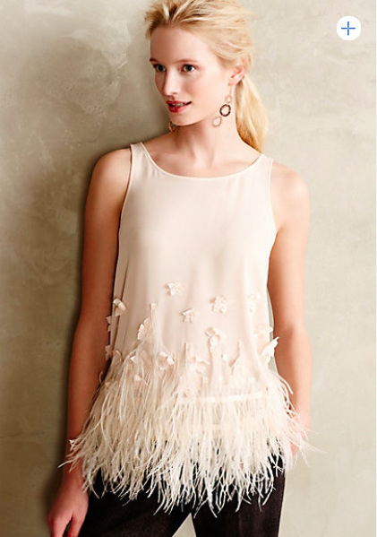 Anthropologie Feathered Fringe Blouse.