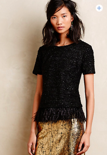 Anthropologie Feathered Boucle Top.