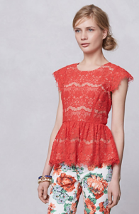 Anthropologie Katrine Peplum Top in Red, $88.
