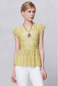 Anthropologie Katrine Peplum Top in Chartreuse, $88.