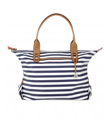 "Navy Stripe ""How Does She Do It"" Bag, $89."