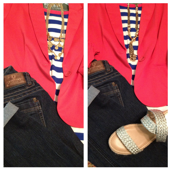 "a ""nautical"" themed blazer ensemble, shown with two different necklaces."