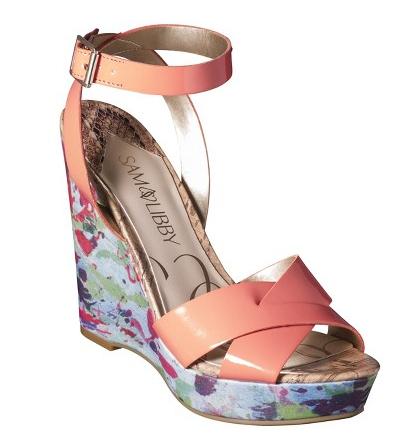 Kelly Wedge in Coral/Floral, $34.99.