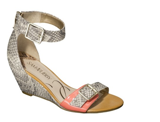 Sonia Wedge in Natural Snake/Coral, $34.99.