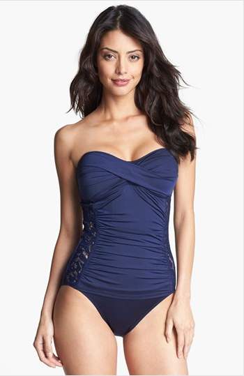 Tommy Bahama Lace Inset One Piece Bandeau, $152.