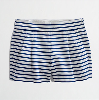J.Crew Factory Store Pleated Striped Shorts, $39.