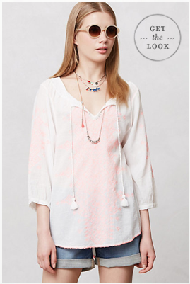 Anthropologie Neon-Stiched Peasant Blouse, $98.