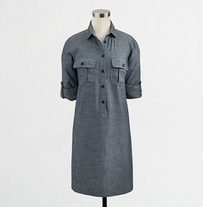 J.Crew Factory Dotted Chambray Shirtdress, $47.50.