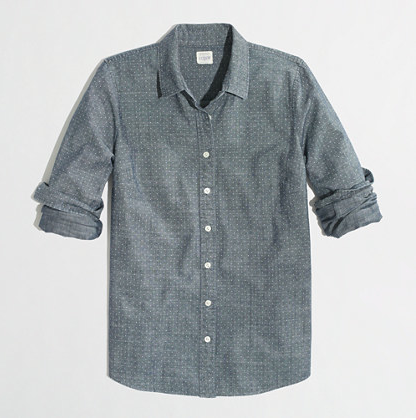 J.Crew Factory Dotted Chambray Shirt, $44.50.