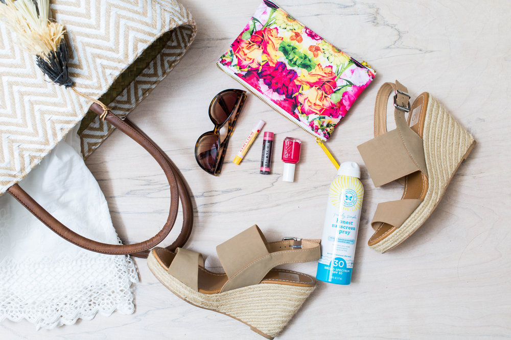 outfit details ::  chevron tote  //  dress  //  wedges  //  sunnies  //  cosmetic pouch  //  sun spray  //  nail polish  //  chap stick  //  lip shimmer